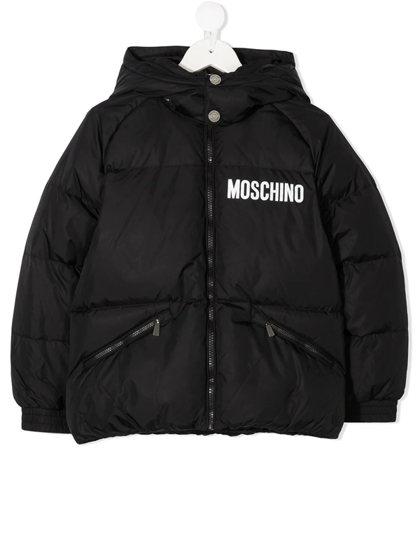 Moschino Teen Padded Logo Hooded Jacket In Black