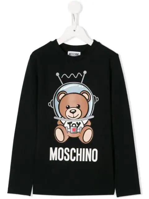 Moschino Teen Spacebear Long Sleeve T-shirt In Black