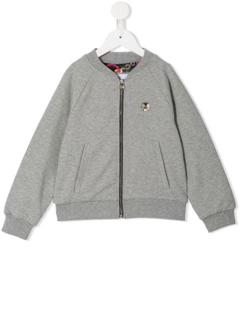Philipp Plein Junior Kids' Statement Jogging Jacket In Grey