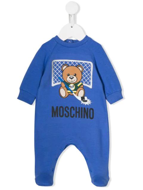 Moschino Babies' Teddy Logo Pajamas In Blue