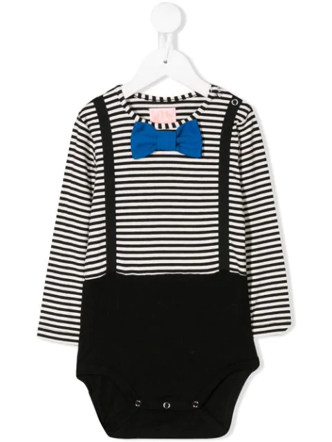 Wauw Capow By Bangbang Babies' Striped Dexter Bodysuit In Black