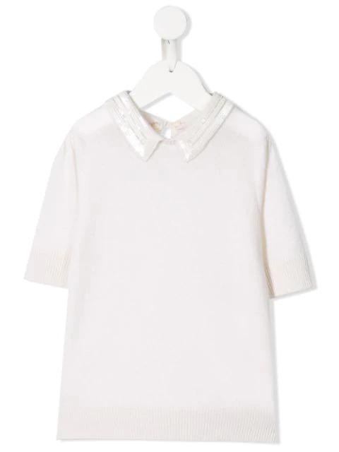 Bonpoint Kids' Sequin Collar Jumper In White