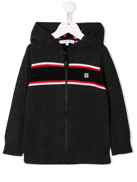 Givenchy Kids' Logo Stripe Knit Hoodie In Black