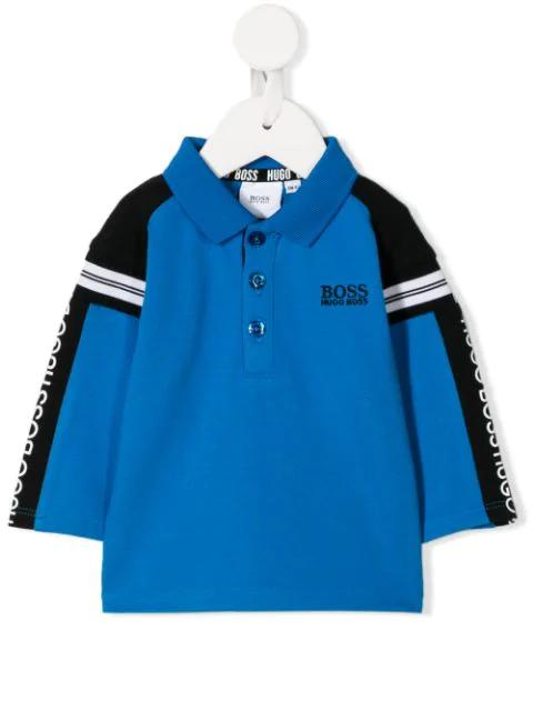 Hugo Boss Babies' Logo Stripe Polo Shirt In Blue