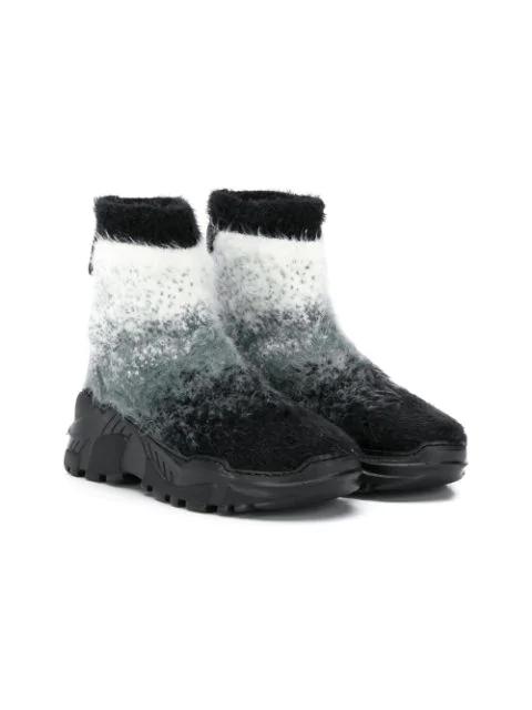 Cinzia Araia Teen Degrade Sock Sneakers In Grey