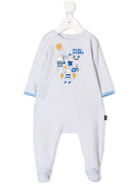 Little Marc Jacobs Graphic Babygrow In Grey