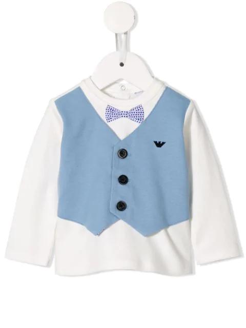 Emporio Armani Babies' Waistcoat Detail Top In White