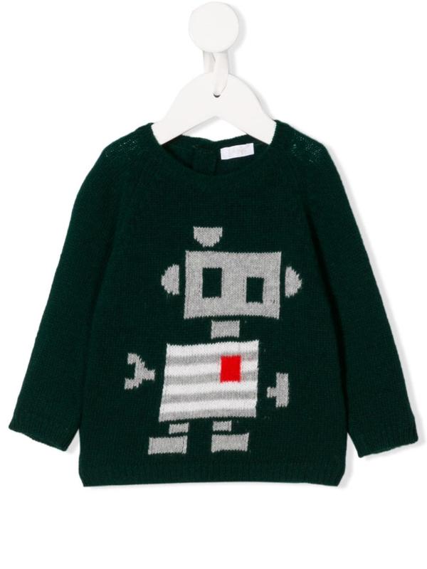 Il Gufo Babies' Wool Knit Robot Jumper In Green