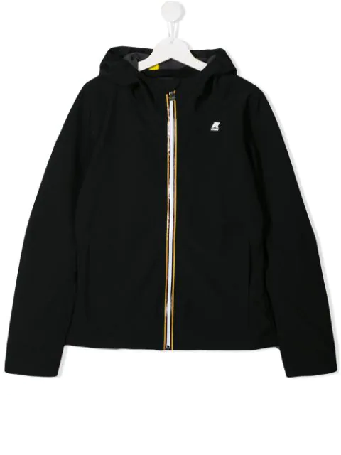 K-way Kids' Hooded Bomber Jacket In Black