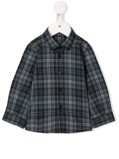 Il Gufo Babies' Long-sleeved Plaid Shirt In Blue