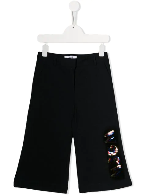 Msgm Kids' Sequin-embellished Trousers In Blue