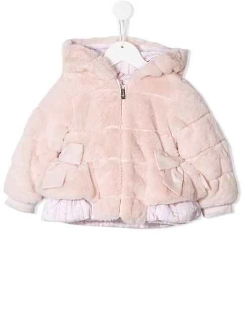 Lapin House Kids' Faux Fur Jacket In Pink