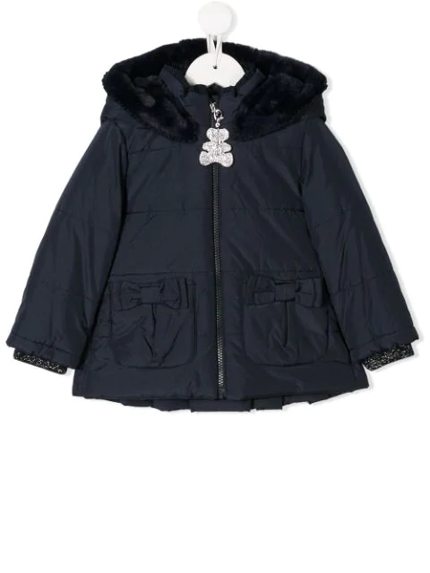 Lapin House Babies' Hooded Padded Jacket In Blue