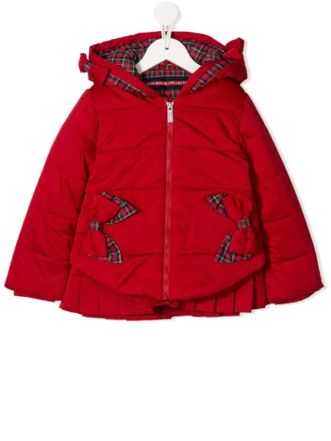 Lapin House Kids' Tartan Print Padded Jacket In Red
