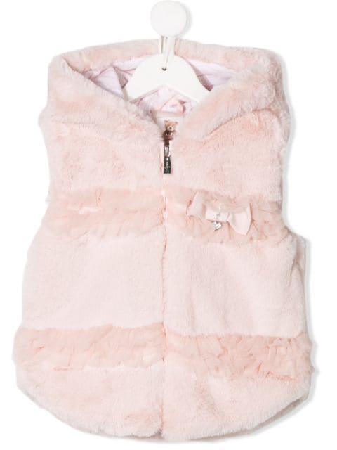 Lapin House Kids' Faux Fur Gilet In Pink