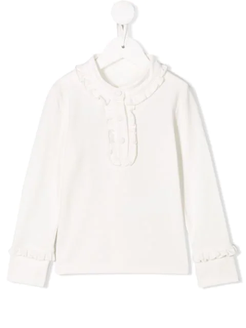 Lapin House Kids' Ruffled Jersey Top In White
