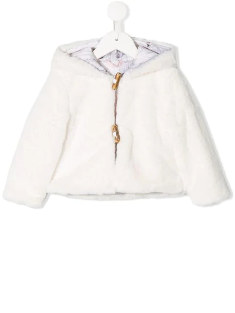 Lapin House Babies' Faux Fur Jacket In White