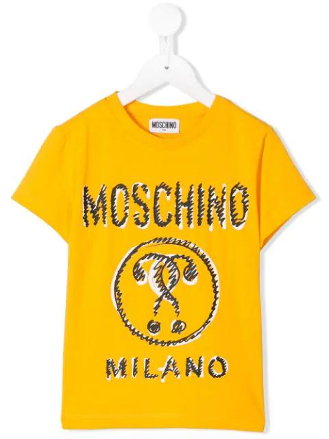 Moschino Kids' Logo Print T-shirt In Yellow