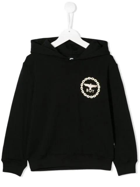 Boy London Teen Logo Print Hoodie In Black