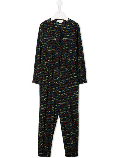 Stella Mccartney Kids' Black And Multi Logo Jumpsuit