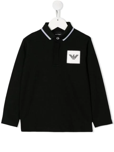 Emporio Armani Kids' Logo Patch Polo Shirt In Black