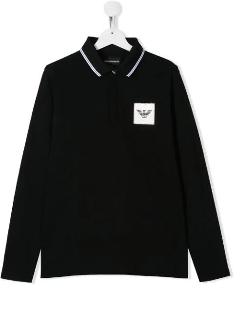Emporio Armani Teen Logo Patch Polo Shirt In Black