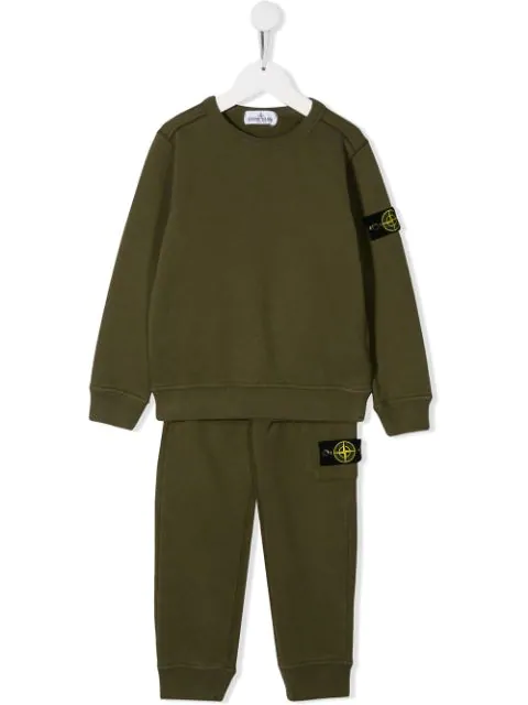Stone Island Junior Teen Branded Tracksuit In Green