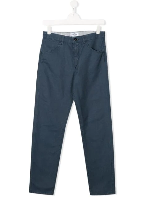 Stone Island Junior Kids' Straight Leg Washed Trousers In Blue
