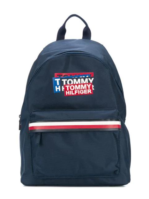 Tommy Hilfiger Junior Kids' Logo Print Backpack In Blue