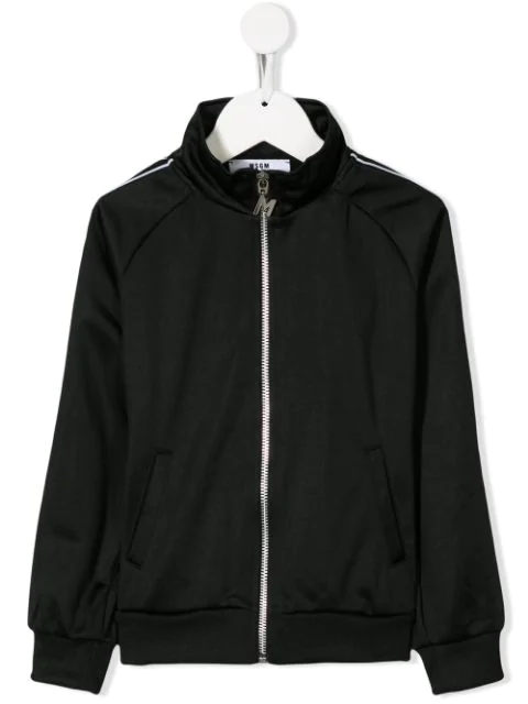Msgm Kids' Zip Up Track Jacket In Black