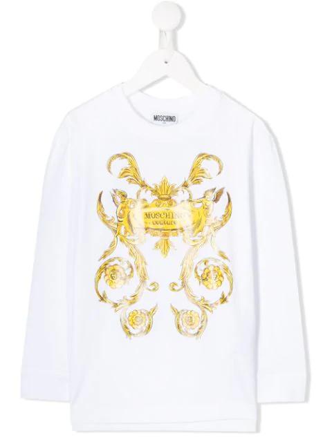 Moschino Kids' Baroque Print Sweatshirt In White