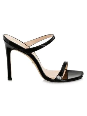 Stuart Weitzman Aleena Patent Slide Heeled Sandals In Black