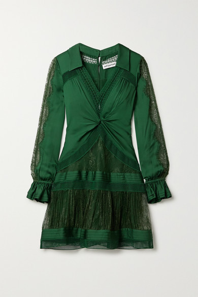 Self-portrait Twist-front Paneled Satin-twill, Lace And Mesh Mini Dress In Dark Green
