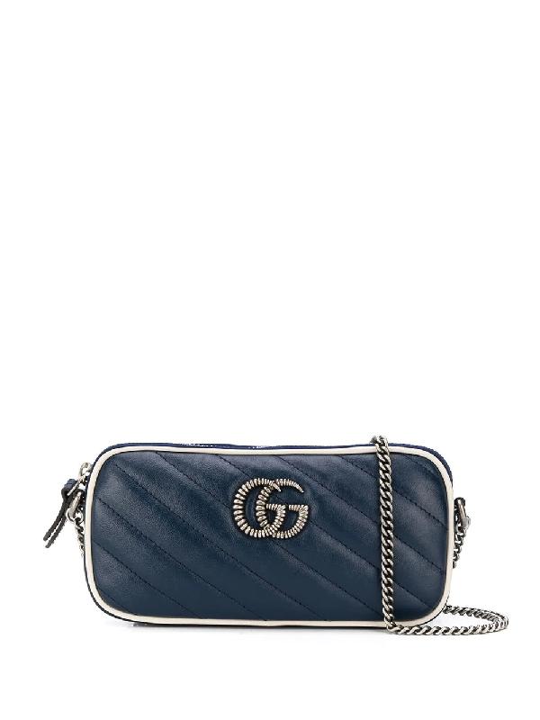 Gucci Gg Marmont Mini Crossbody Bag In Blue