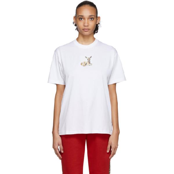 Burberry Devon Deer-print Cotton-jersey T-shirt In White