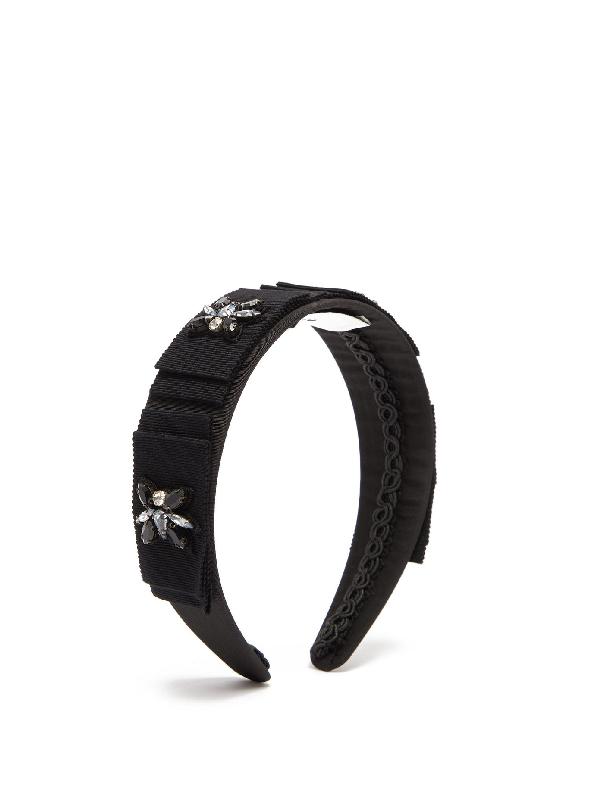 Erdem Bead-embellished Silk Headband In Black