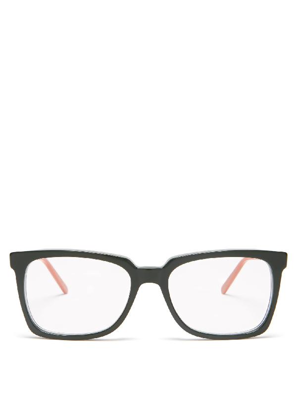 Marni Rectangular Acetate Glasses In Green