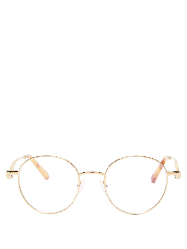 ChloÉ Ayla Round-frame Metal Glasses In Gold