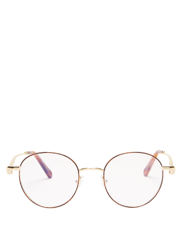 ChloÉ Ayla Round Metal Glasses In Rose Gold