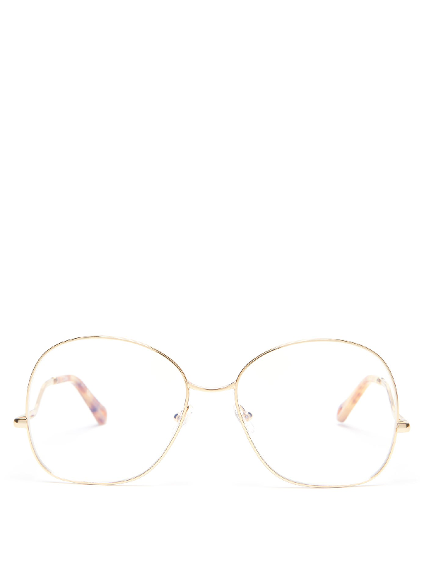 ChloÉ Willis Round Metal Glasses In Gold