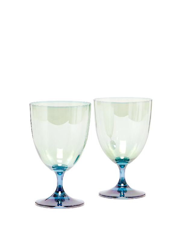 Luisa Beccaria Set Of Two Gradient Water Glasses In Green