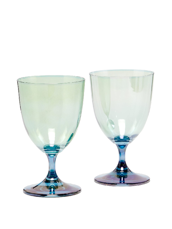 Luisa Beccaria Set Of Two Gradient Wine Glasses In Green