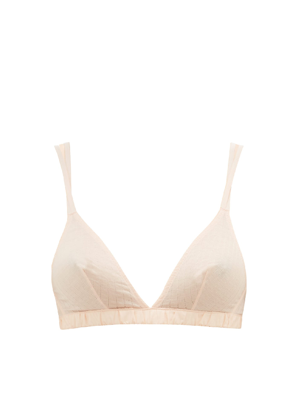 Rossell England Criss-cross Strap Pointell-jersey Triangle Bra In Nude