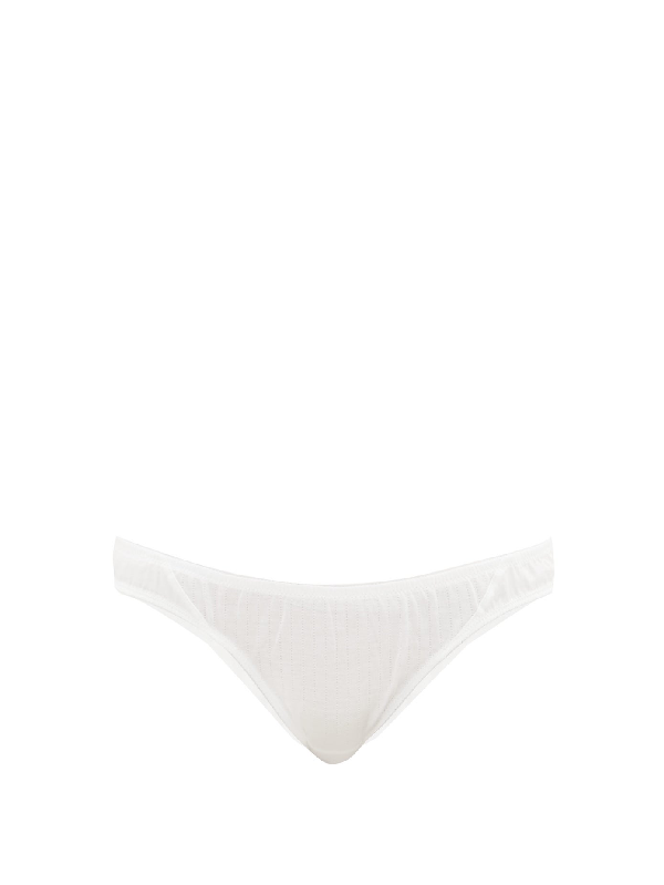 Rossell England Low-rise Pointelle Cotton Briefs In White