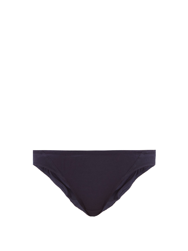 Rossell England Angular Sheer Cotton Briefs In Navy