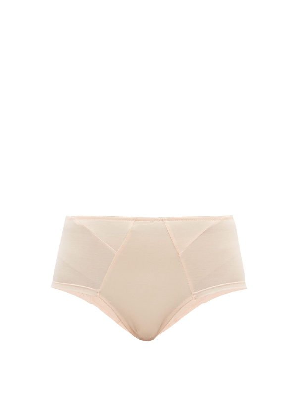 Rossell England High-waisted Stretch-cotton Jersey Briefs In Nude