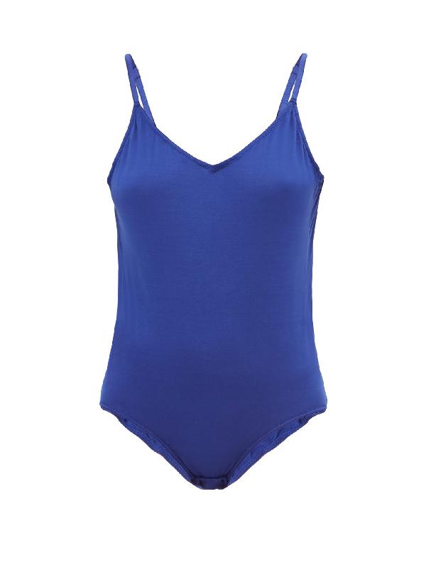 Rossell England V-neck Cotton-jersey Bodysuit In Blue