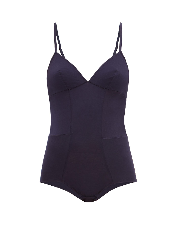 Rossell England Panelled Cotton-jersey Bodysuit In Navy