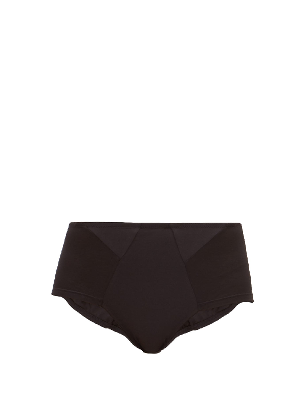 Rossell England High-rise Cotton-blend Briefs In Black