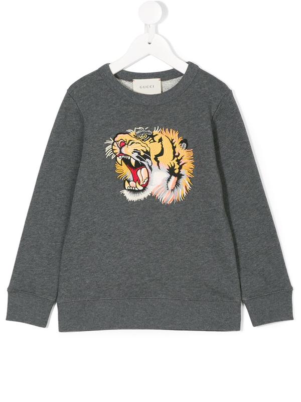 Gucci Kids' Tiger-appliqué Sweatshirt In Grey